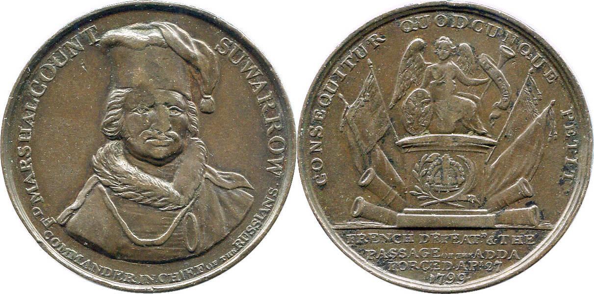 Bronzemedaille 1799 NAPOLEON UND SEINE ZEIT Siege des Grafen Alexander Wassiljewitch Suworow in Italien ss