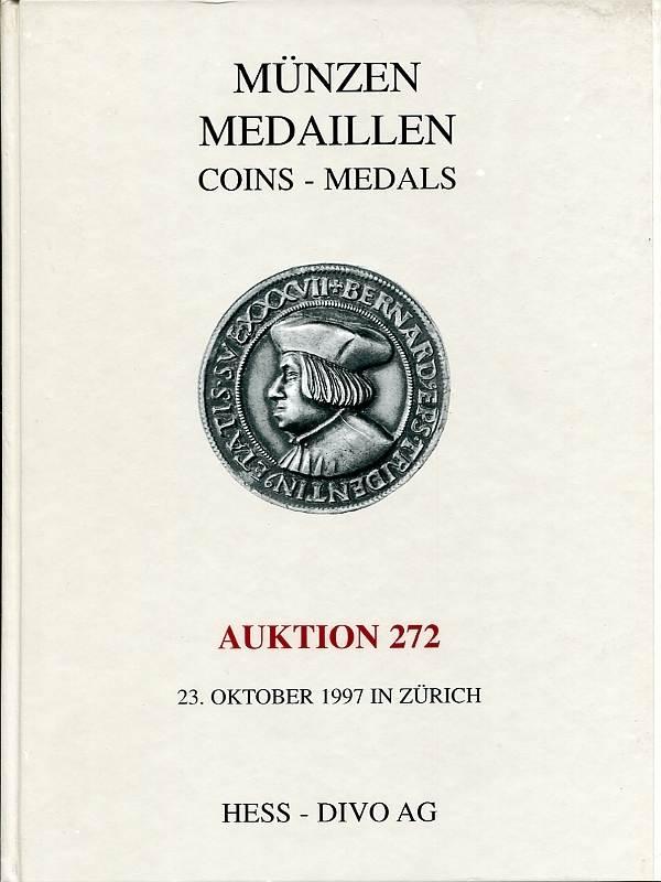 Auktionskatalog 272 1997 Hess-Divo / Zürich Deutschland - Frankreich (u.a. Napoleon-Medaillen) - Spezialsammlung Zürich fast neuwertig