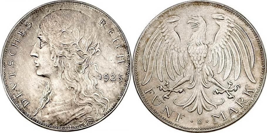 """5 Reichsmark 1925 D Weimarer Republik 5 Reichsmark 1925 D, Probe, """"Germania"""" vz-prfr"""