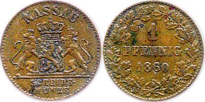 1 Pfennig 1860 Nassau Adolph (1839-1866) ss