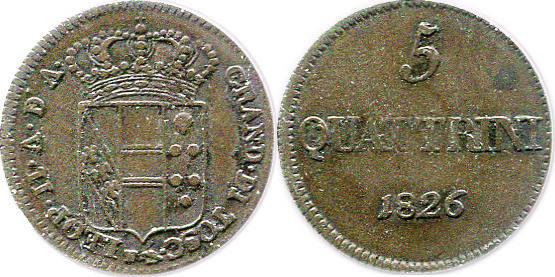 5 Quattrini 1826 Italien - Toskana Leopold II. (1824-1859) ss