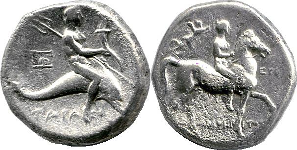 Didrachme um 300 v. Chr. Kalabrien – Taras Tarent / Taras ss-vz, Rv. narbige Stelle