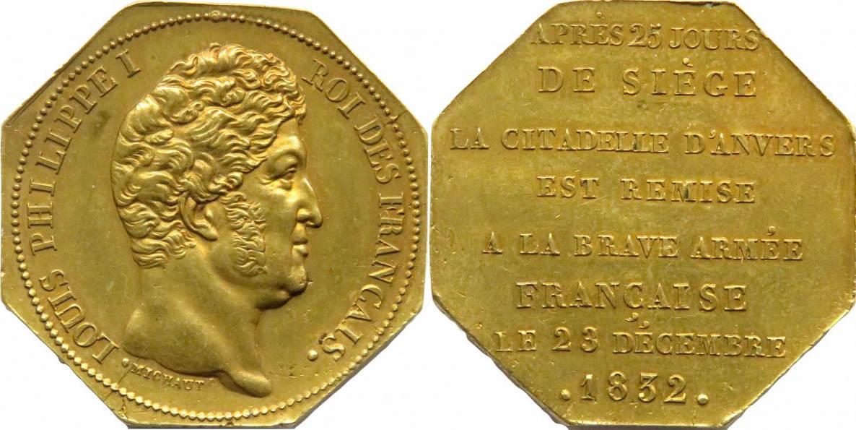 8-eckige Messingmedaille 1832 Belgien - Antwerpen Belagerung der Zitadelle von Antwerpen vz