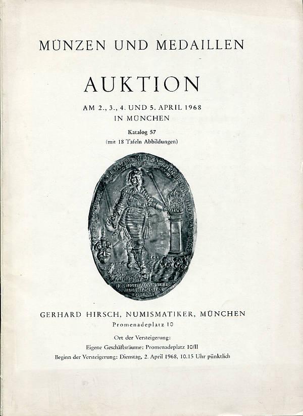 Auktionsatalog 57 1968 Hirsch München U A Pfalz