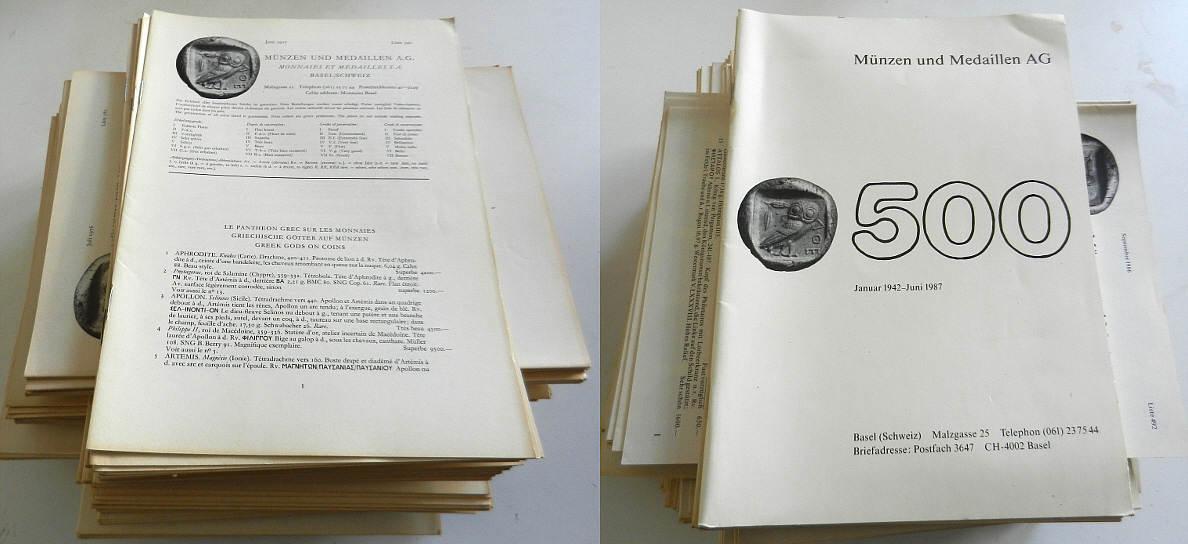 Lagerlisten 1962-1987 MÜNZEN UND MEDAILLEN / Basel Lagerlisten meist sehr gut, Lagerspuren