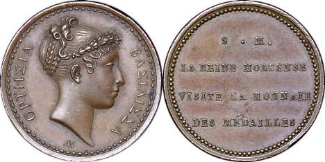 Bronzemedaille 1808 FRANKREICH Napoléons Schwägerin Hortense Besuch der Pariser Münze vz