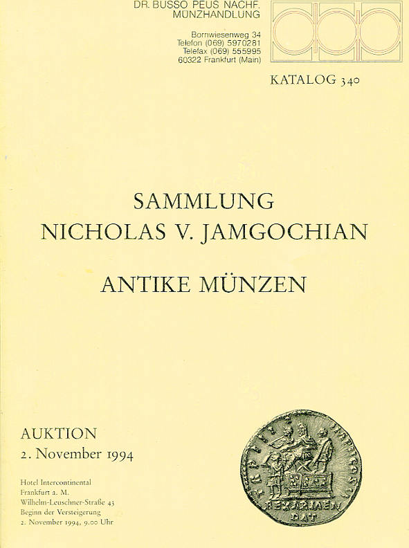 Auktionskatalog 340 1994 Peus Nachf. / Frankfurt Slg. Jamgochian, Antike fast neuwertig