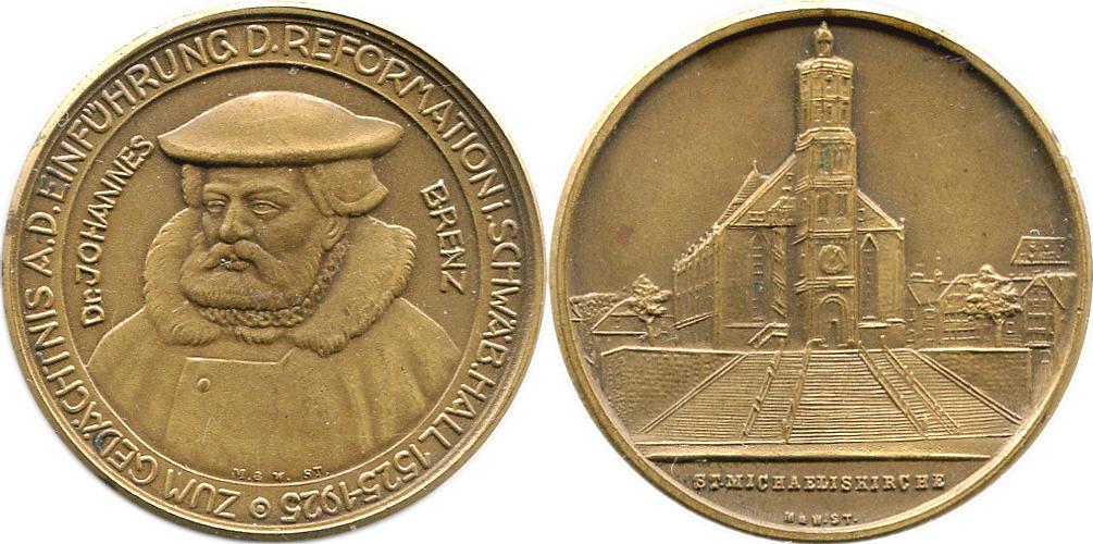Bronzemedaille 1932 Reformation 400 Jahre Reformation in Schwäbisch Hall vz-pfr, mattiert