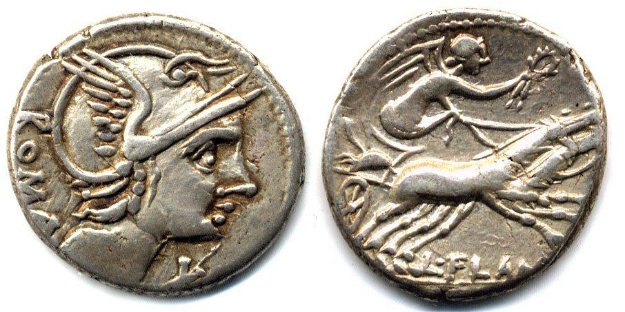 Denar 109/108 v. Chr. Römische Republik L. Flamius Chilo ss-vz