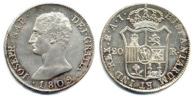 20 Reales 1809 Spanien Joseph Napoleon (1808-1813) vz/st