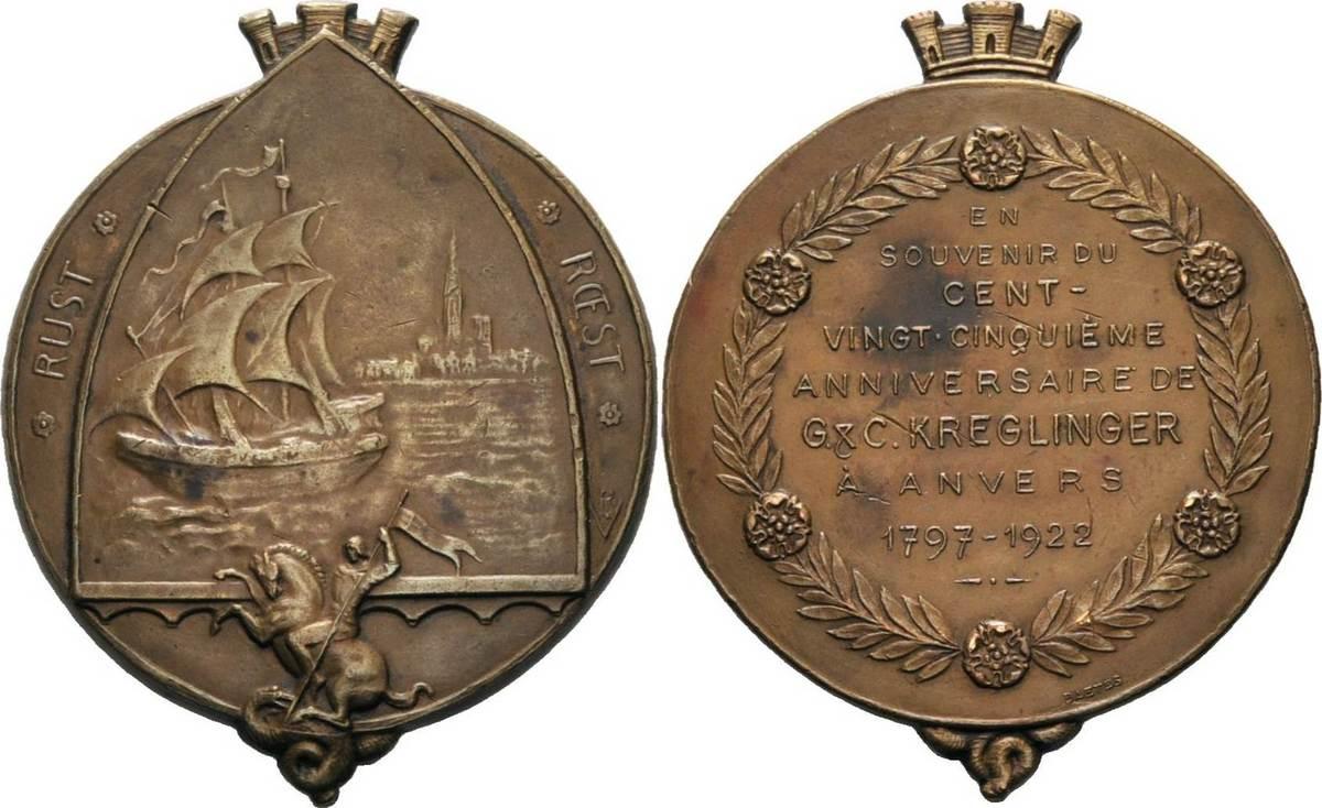 Bronzeplakette 1922 (Baetes) Schiffahrt Kl. Kratzer, fast vorzüglich
