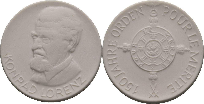 Weiße Porzellanmedaille 1992. Porzellanmedaillen Deutschland Prägefrisch