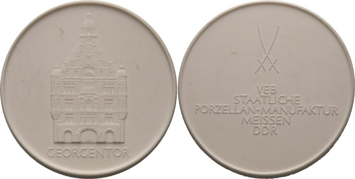 Weiße Porzellanmedaille 1969. Porzellanmedaillen Dresden Prägefrisch