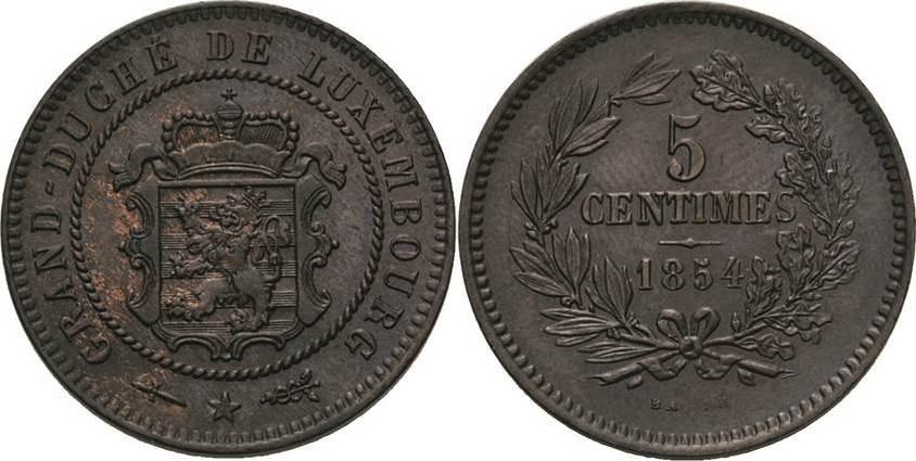 5 Centimes 1854, Utrecht Luxemburg Wilhelm III. 1849-1890 Vorzüglich