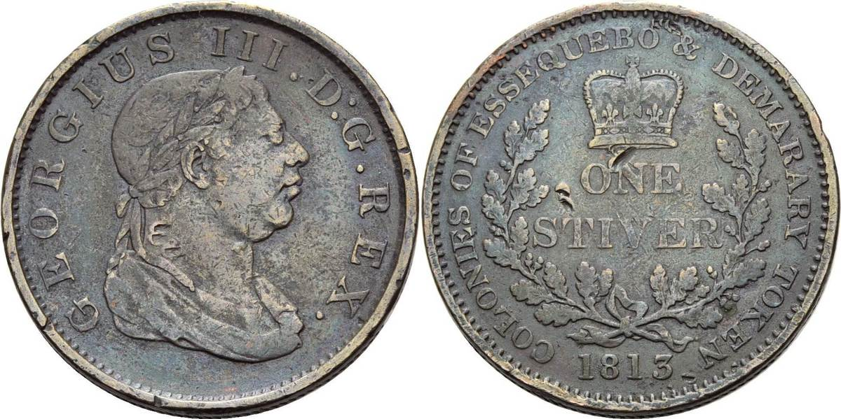 Token zu 1 Stiver 1813. Großbritannien George III. 1760-1820 Sehr schön-