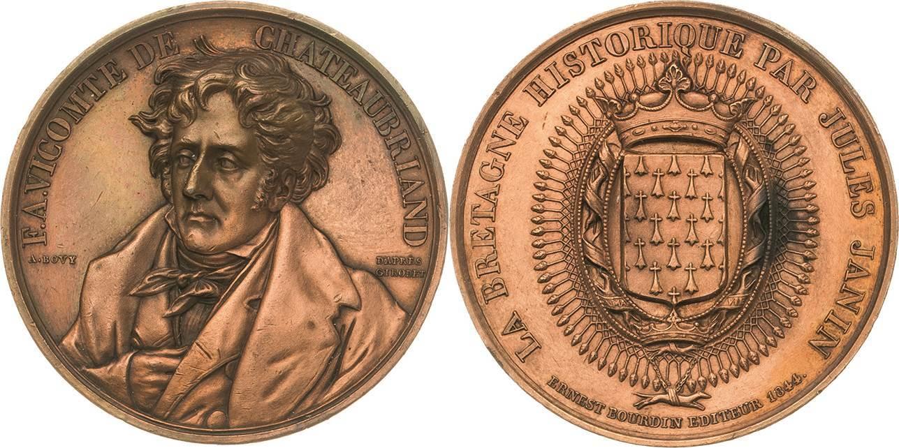 Bronzemedaille 1844 (A. Bovy/E. Bourdin) Personenmedaillen Chateaubriand, François-René 1768-1848 Kl. Randfehler, fast vorzüglich / vorzüglich