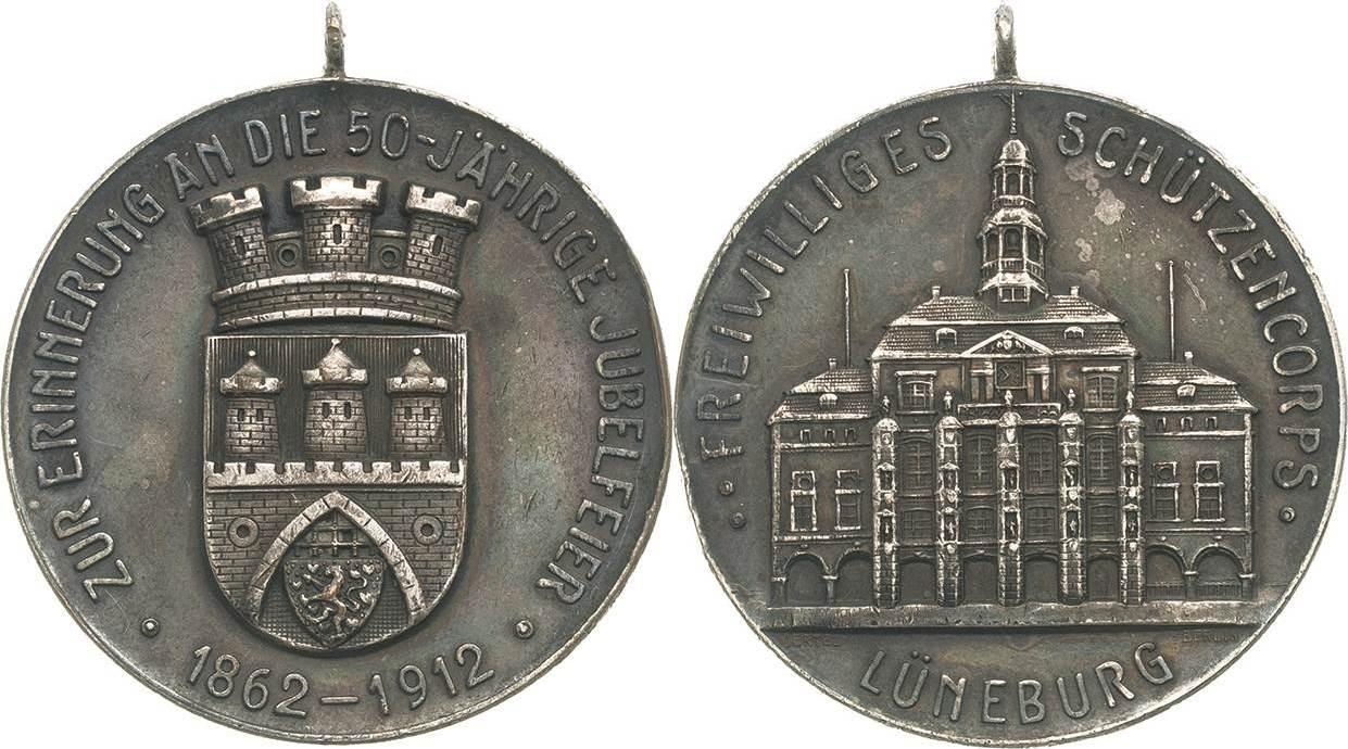 Versilberte Bronzemedaille 1912 (Oertel) Schützenmedaillen Lüneburg Fast vorzüglich