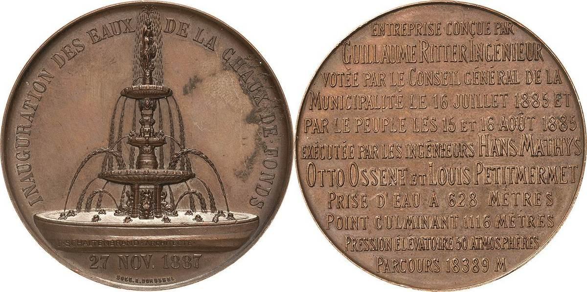 Bronzemedaille 1887 (E. Durussel) Schweiz-Neuenburg, Kanton Kl. Randfehler, kl. Kratzer, vorzüglich-Stempelglanz