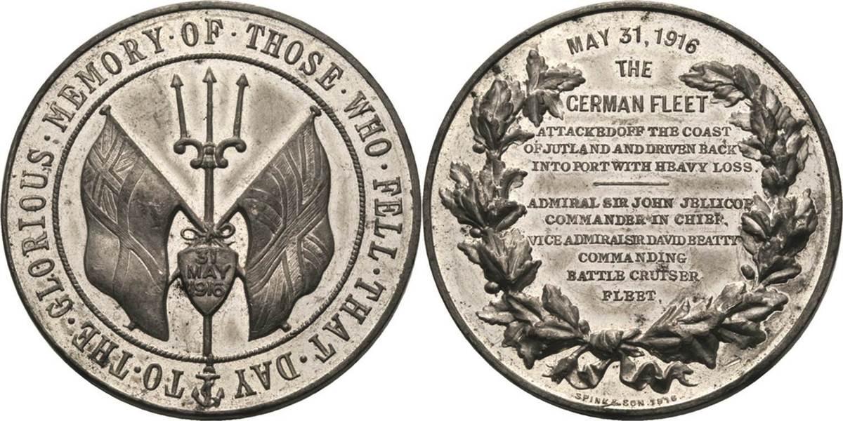 Zinnmedaille 1916 (Spink & Son) Großbritannien George V. 1910-1936 Rv. Kratzer, vorzüglich / fast vorzüglich