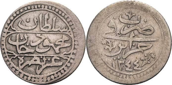 1/4 Budju 1829 (AH 1244), Algier (J Algerien Mahmud II. 1808-1839 Sehr schön