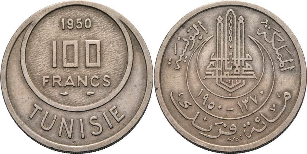100 Francs 1950. Tunesien Mohammed al-Amin 1943-1956 Kl. Randfehler, sehr schön-vorzüglich
