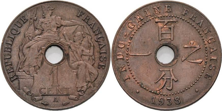1 Cent 1914, A-Paris Französisch Indochina Vorzüglich