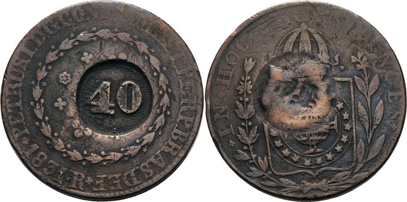 40 Reis o.J. (um 1835) Brasilien Pedro II. 1831-1889 Sehr schön