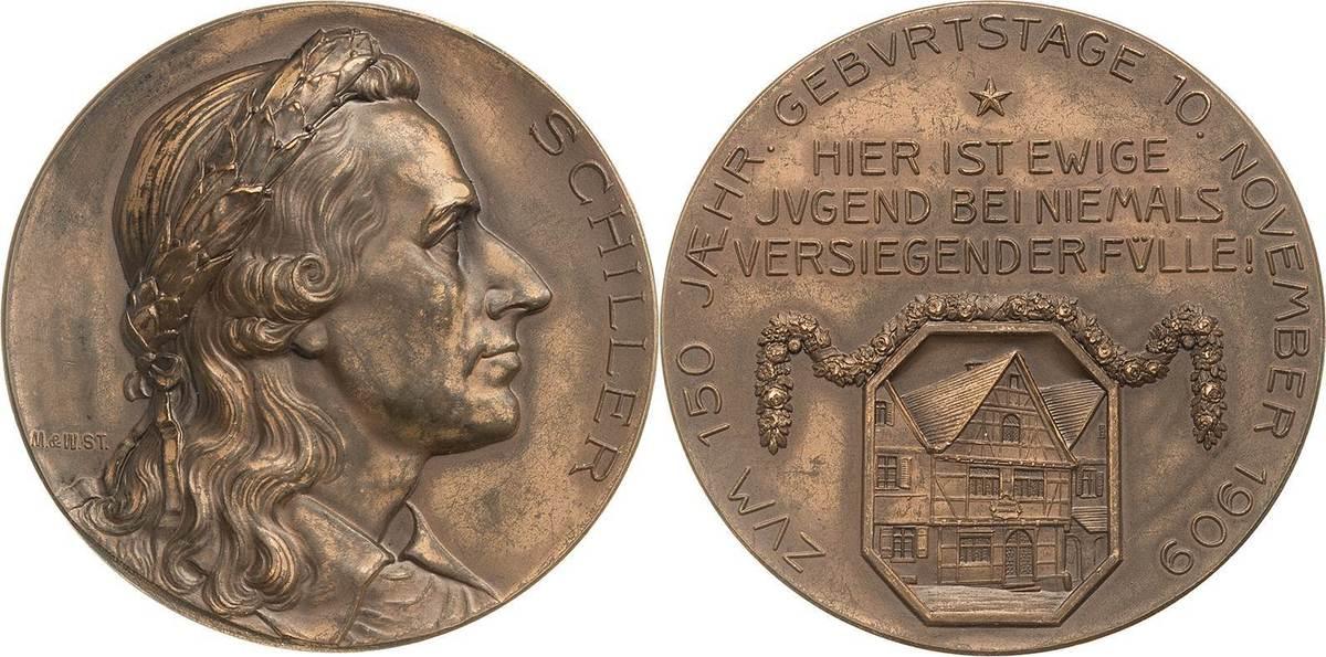Bronzemedaille 1909 (Mayer & Wilhelm) Personenmedaillen Schiller, Friedrich von 1759-1805 Prägefrisch