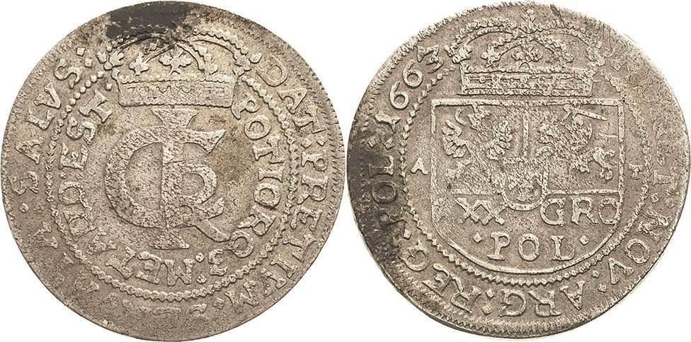 30 Gröscher 1663 AT-Bromberg oder Kra Polen Johann II. Kasimir 1648-1668 Fast sehr schön