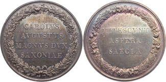 Silbermedaille 1775-1828 Sachsen-Weimar-Eisenach Carl August 1775-1828. Äußerst selten. Schöne Patina. Fast Stem