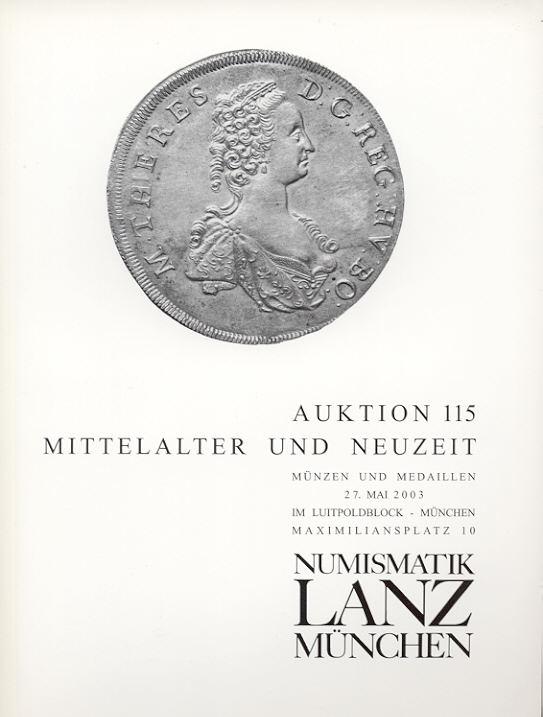2003 AUCTION CATALOGUES LANZ 115 - MITTELALTER & NEUZEIT neuwertig