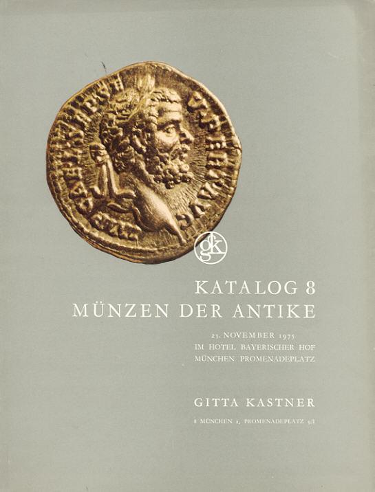 1975 AUCTION CATALOGUES GITTA KASTNER 8 - MÜNZEN DER ANTIKE gebraucht