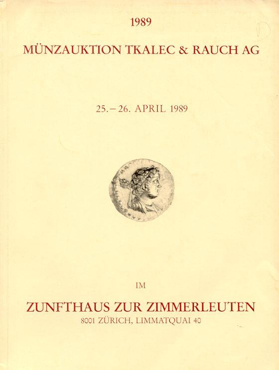 1989 AUCTION CATALOGUES - MÜNZAUKTION TKALEC - KATALOG 1989 ANTIKE-NEUZEIT leicht gebraucht