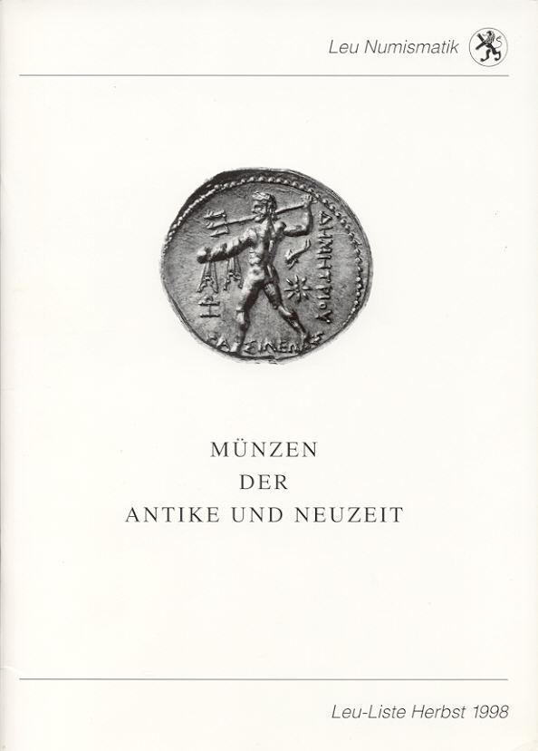 1998 AUCTION CATALOGUES - LEU - LISTE 1998 neuwertig