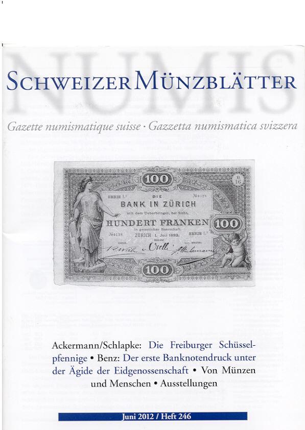 2012 PERIODICALS - SCHWEIZER MÜNZBLÄTTER 246, 2012 NEU