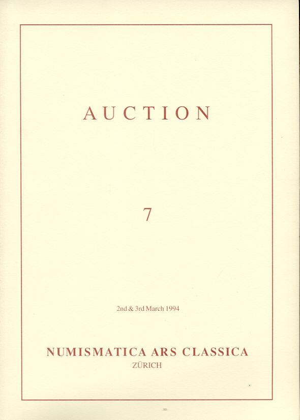 1994 AUCTION CATALOGUES - NUMISMATICA ARS CLASSICA (NAC) - AUCTION 7, 1994 druckfrisch