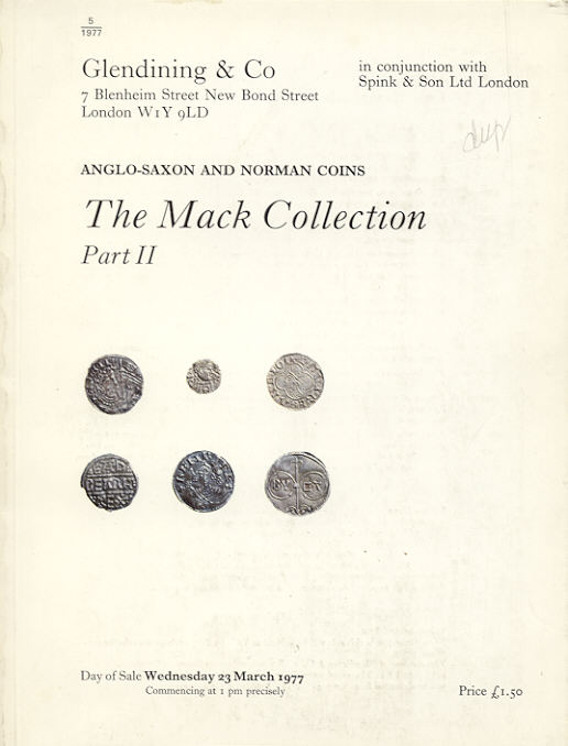 1977 AUCTION CATALOGUES - GLENDINING - THE MACK COLLECTION gebraucht