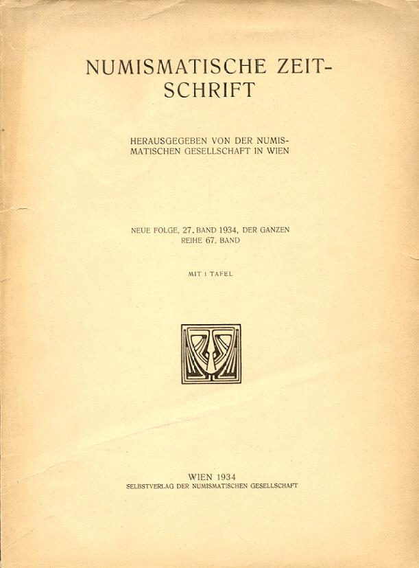 1934 PERIODICALS - NUMISMATISCHE ZEITSCHRIFT (NZ) 1934 Leicht gebraucht