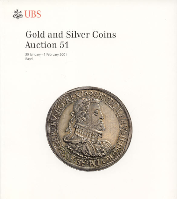 2001 AUCTION CATALOGUES - UBS 51 (2001) - GOLD & SILVER COINS Druckfrisch