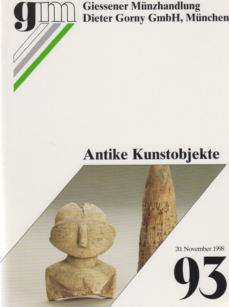 1998 ANCIENT ART - GORNY & MOSCH 93, 1998 - ANTIKE KUNSTOBJEKTE Druckfrisch