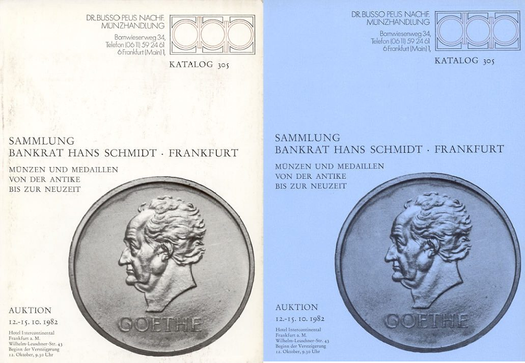 1982 AUCTION CATALOGUES - PEUS 305 - SAMMLUNG BANKRAT HANS SCHMIDT gebraucht