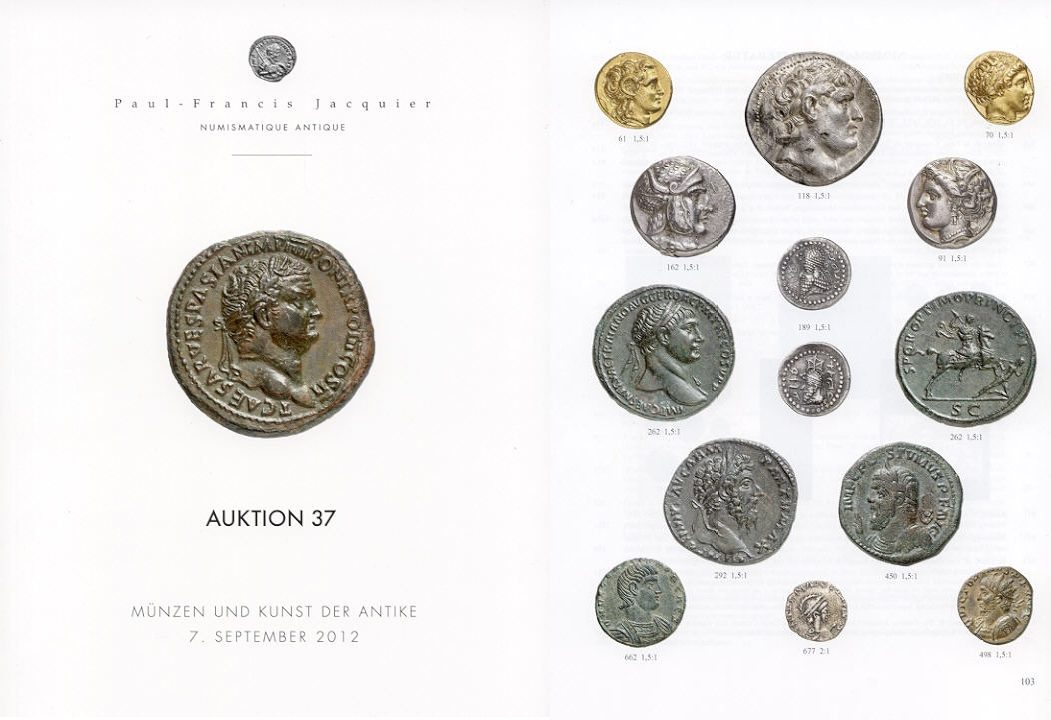 2012 AUCTION CATALOGUES - JACQUIER - AUKTION 37 (2012) Druckfrisch