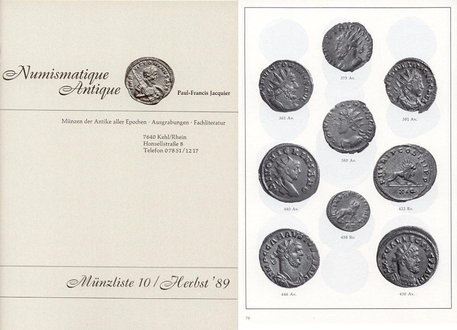 1989 AUCTION CATALOGUES - JACQUIER 10 (1989) - MÜNZEN DER ANTIKE Druckfrisch