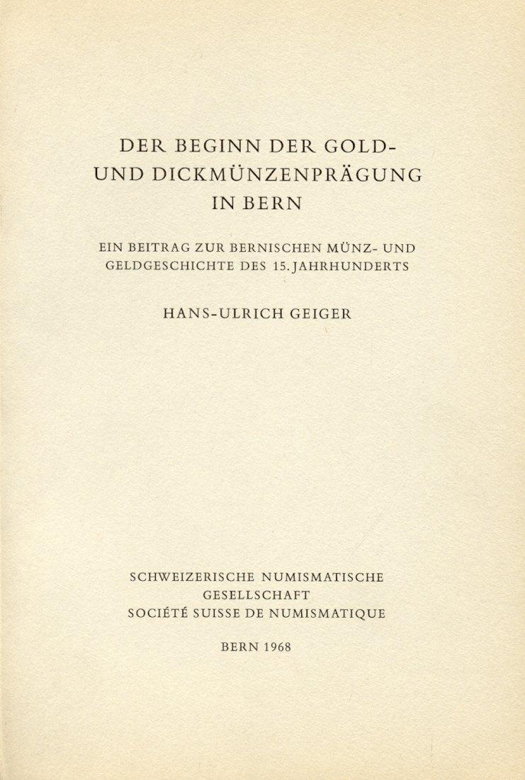 1968 SCHWEIZ - GEIGER - GOLD- UND DICKMÜNZENPRÄGUNG IN BERN NEU