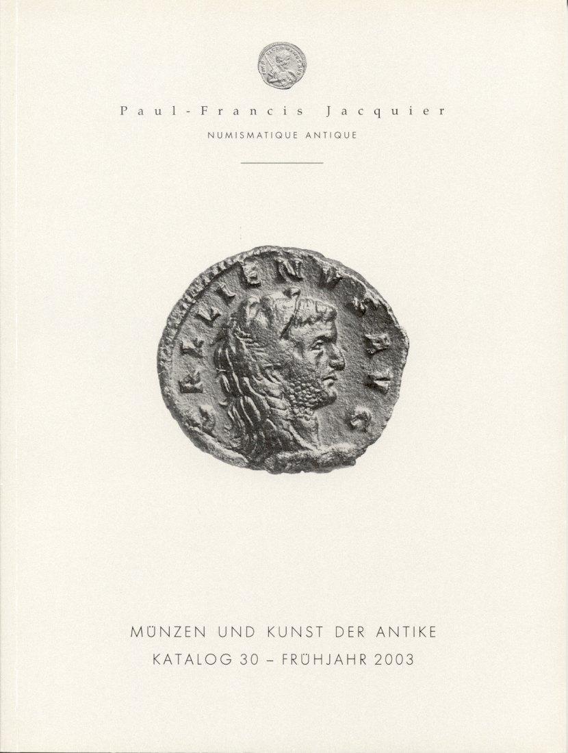 2003 AUCTION CATALOGUES - PAUL-FRANCIS JACQUIER - KATALOG 30, 2003 Druckfrisch