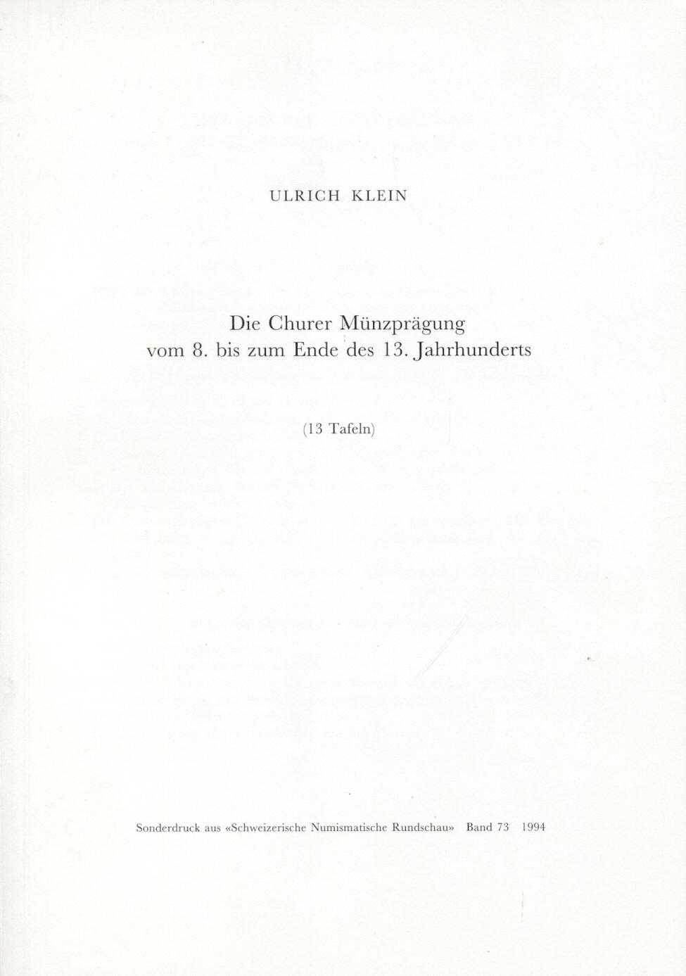 1994 SCHWEIZ - KLEIN - DIE CHURER MÜNZPRÄGUNG NEU