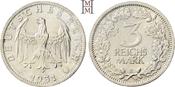 3 Reichsmark 1931  E Weimarer Republik  Feine Tönung, vorzüglich-Stempelglanz