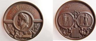 gr.Kupfermedaille 1846 Frankreich / Bauwesen ´von Borrel & Klagmann, Louis Philippe - Batiment du Timbre royale et ... stgl., Prachtsstück!!
