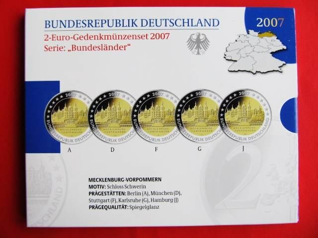 2 Euro Gedenkmünzenset Blister 2007 Brd Deutschland Brd 2 Euro