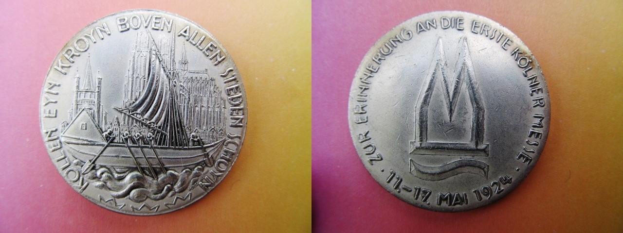 Medaille 1924 Köln Versilbert Zur Erinnerung An Die Erste Kölner